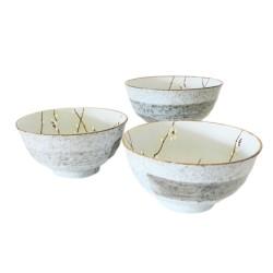 Set de 3 bols beige en céramique japonaise 17 cm