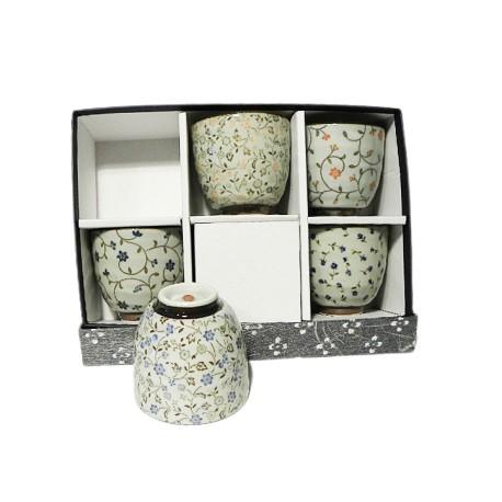 Set 5 verres à thé motifs fleurs