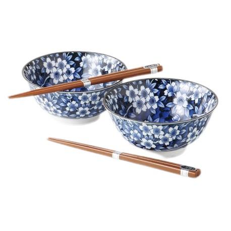 Duo de bols fleurs avec baguettes