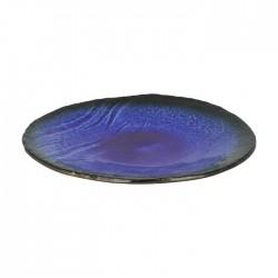 Assiette japonaise en céramique bleu profond