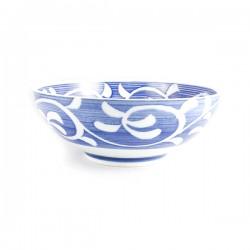 Grand bol ramen en céramique japonaise motifs herbes