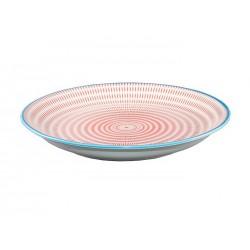 Assiette  porcelaine 23.5 cm - Motif : traits bleus clairs