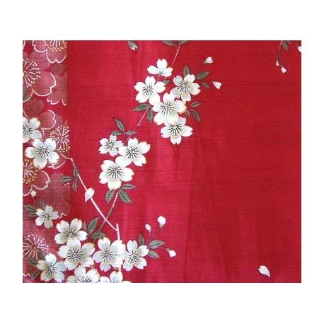Kimono japonais fleurs de cerisier rouge