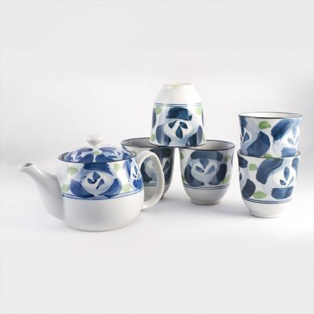Service à thé blanc et bleu