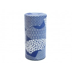Boite à thé japonaise bleu motifs patchwork