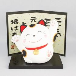 Chat japonais Maneki neko avec médaille