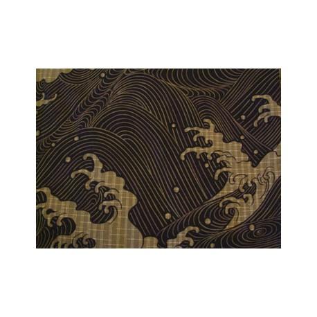 Yukata japonais pour homme motifs Vagues couleur noir
