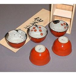 Set 5 tasses à thé japonaises Momiji