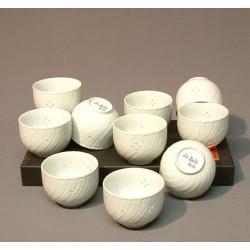 Set de 10 tasses à thé blanches