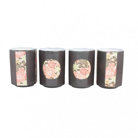 Set de 4 tasses à thé hexagonales