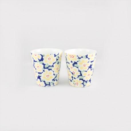 Set de 2 tasses fleurs jaunes