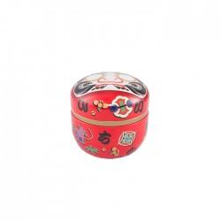 Petite boite à thé Daruma rouge