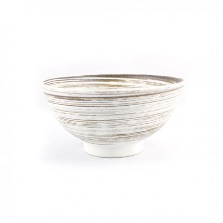 Bol blanc à rayures en céramique japonaise