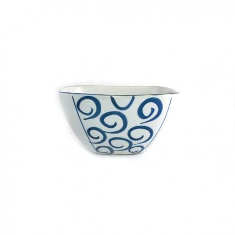 Grand bol carré en céramique japonaise spirales