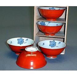 Set 5 bols à riz rouges en céramique japonaise