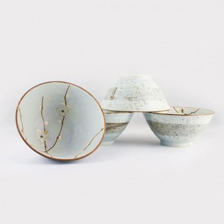 Set de 4 bols beige en céramique japonaise 13.5 cm