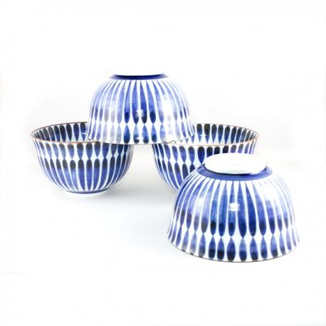 Set de 4 bols japonais bleus motifs lignes