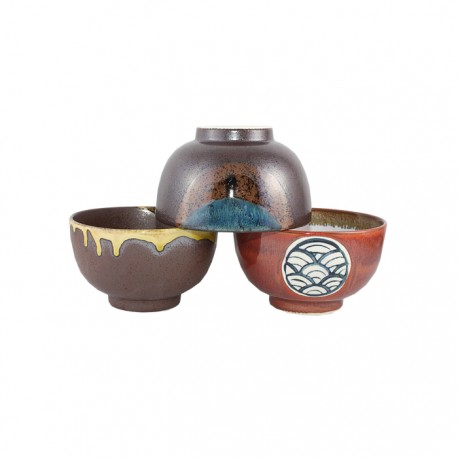 Set de 3 bols en céramique japonaise 13 cm