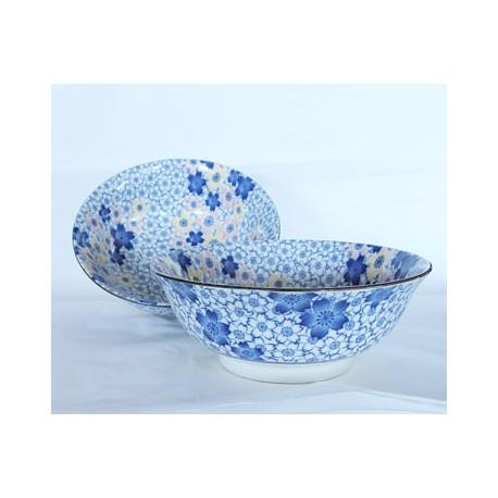 Set de 2 bols Ramen en céramique japonaise motifs fleurs