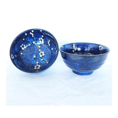 Set de 2 bols en céramique japonaise bleus
