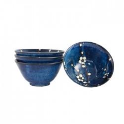 Set 4 bols japonais bleus motifs fleurs de cerisier