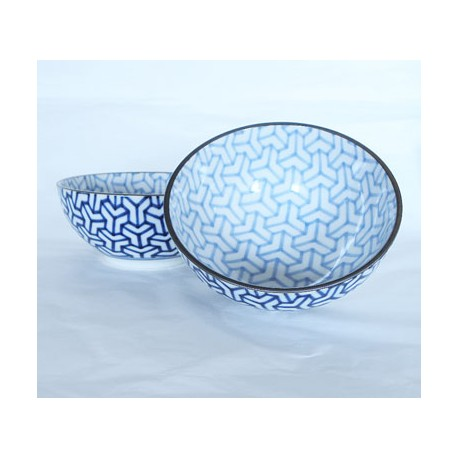 Sets 2 bols à riz en céramique japonaise bleus motifs Kumikiko