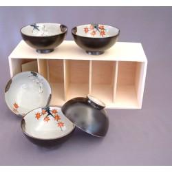 Set de 5 bols Momiji en céramique japonaise noir