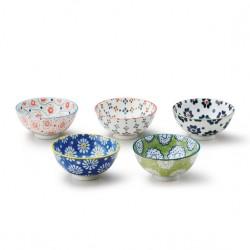 Set 5 bols à riz japonais motifs Pollen de fleurs