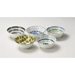 Set de 5 bols japonais motifs floraux 11.5 cm
