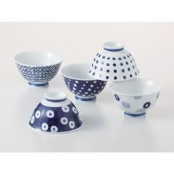 Set de 5 bols japonais bleus indigo