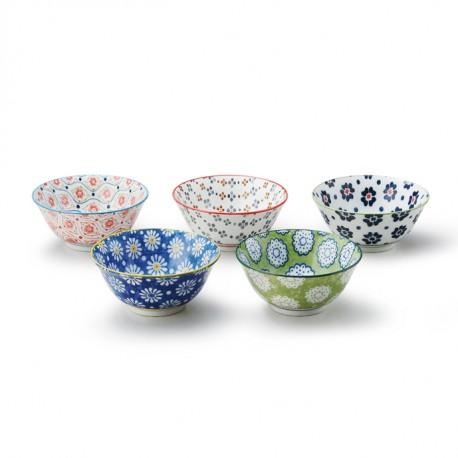 Set de 5 bols japonais médiums motifs pollen de fleurs