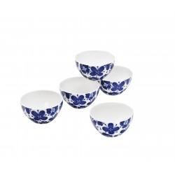 Set de 5 bols japonais motifs fleurs bleus