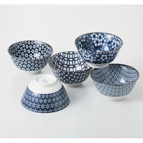 Set 5 bols japonais bleus en porcelaine