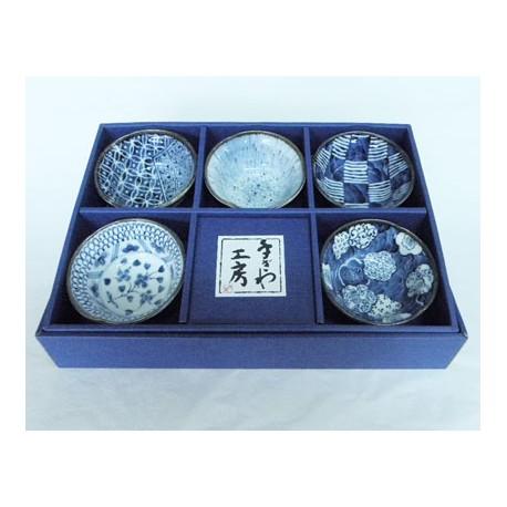 Set de 5 raviers bleus