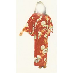 Yukata japonais motifs traditionnels rouge