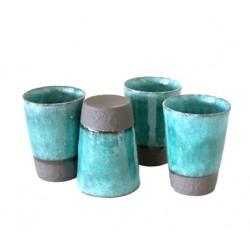 Set 4 verres à thé turquoises