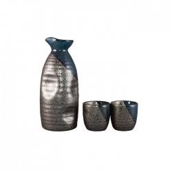 Service à Sake bleu et gris