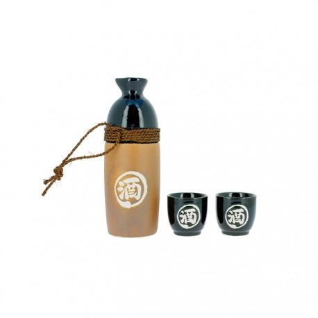 Service à Sake noir et beige