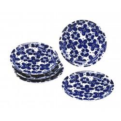 Set 5 assiettes fleurs bleus