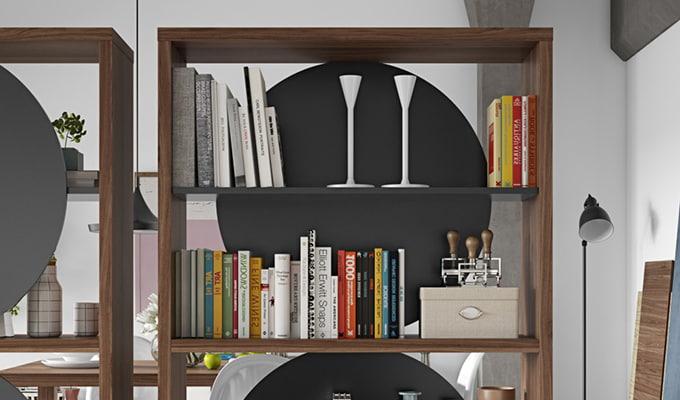 Bibliothèque maru noir et noyer haut