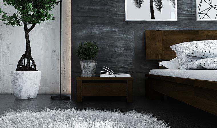 Chevet 1 tiroir pour lit Tsuri bas couleur wenge