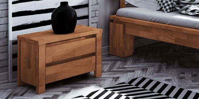 Chevet pour lit Tsuri Haut en bois de hêtre massif couleur naturel