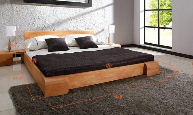 Dimensions du lit Kobe naturel avec le pack lit et 2 commodes assorties