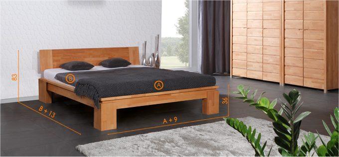 Dimensions du lit Tsuri haut naturel pour le pack complet lit + Sommier + Matelas