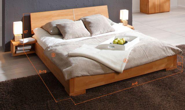 Dimensions du lit Shizen bas naturel compris dans le pack lit et commode