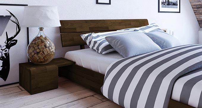 Lit et chevet du modèle de lit Kobe wenge compris dans le pack lit et commode