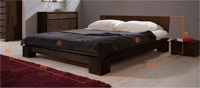 Dimensions du lit japonais Tsuri bas couleur wenge